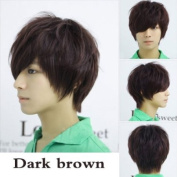 Vktech Man Neutral Short Straight Wig Colour Brown