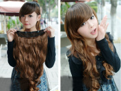 One Piece New Fashion Long Curly Wavy Clip On Hair Extension Cosplay Wig 3 Colours