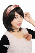 Taobaopit Natural Designer Short-length Synthetic Straight Wigs Hairpieces Hair Extensions-Black