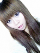 Taobaopit Special Natural Long Straight Wigs Flat Bangs Wigs-Light Brown-Ladies