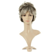 Taobaopit Stylish Hair Grey With White Short Natural Curly Wigs Synthetic Replacement Wigs-ladies
