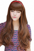 Taobaopit Popular Natural Long Curly Wigs Flat Bangs Wigs-Light Brown-Ladies