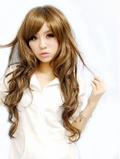 Taobaopit Fashion Girl Natural Long Curly Wigs Diagonal Bangs Wigs-Light Brown-Ladies