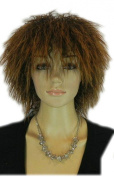 Yazilind Punk Rock Micro Perm Curly Short Medium Spiky Brown Heat Resistant Fibre Synthetic Hair Full Cosplay Anime Costume Wig