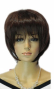 Yazilind Short Dark Red Bob Straight Heat Resistant Fibre Synthetic Hairnet Full Cosplay Anime Costume Wig