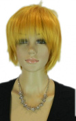 Yazilind Short Bright Yellow Straight Rock Star Layered Full Bang Heat Resistant Fibre Synthetic Hair Cosplay Anime Costume Wig