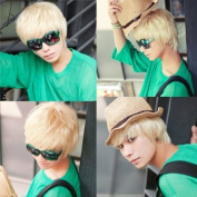 Fashion New Cosplay Party Short Hair Mens Full Wigs Korean Style White Colour