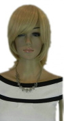 Yazilind Short Medium Pale Blonde Straight Synthetic Hair Full Wig