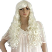 New Long Wavy Creamy White Lady Fashion Loose Full Wig Vogue Wigs Anime Cos Wig