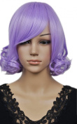 Yazilind Short Straight Curly Lavender Purple Elegant Lady Synthetic Hair Full Wig