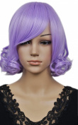 Yazilind Short Straight Curly Lavender Purple Elegant Lady Synthetic Hair Full Wig