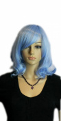 Yazilind Shoulder Length Medium Wavy Curly Light Blue Heat Resistant Fibre Synthetic Hair Full Cosplay Anime Costume Wig