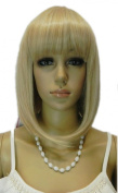 Yazilind Shoulder Medium Length Straight Blonde Yellow Heat Resistant Fibre Synthetic Hair Full Cosplay Anime Costume Wig