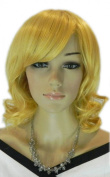 Yazilind Golden Yellow Long Medium Wavy Curly Party Heat Resistant Fibre Synthetic Hair Full Cosplay Anime Costume Wig