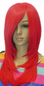 Yazilind Women's Bright Red Straight Long Medium Length Heat Resistant Stylish Cosplay Costume Anime Full Hair Wig