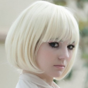 Autofor New Popular Cosplay Hallowmas Kanekalon Short Straight BOB Sexy Stylish Synthetic Hair Wig White