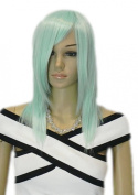 Yazilind Long Medium Siler Blue Straight Full Heat Resistant Fibre Synthetic Hair Cosplay Anime Costume Wig