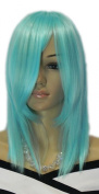 Yazilind Medium Shoulder Length Blue Straight Heat Resistant Fibre Synthetic Hair Full Cosplay Anime Costume Wig