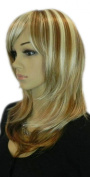 Yazilind Medium Shoulder Length Straight Blonde Brown Mix Heat Resistant Fibre Synthetic Hair Full Cosplay Anime Costume Wig