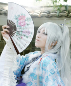 Silver-White Body +80 Cm Tiger Folder Straight Pony Tail Cosplay Wig