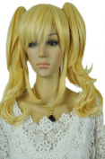 Yazilind Lovely Loli Lolita Wavy Long Two Ponytail Blonde Yellow Full Cosplay Anime Costume Wig