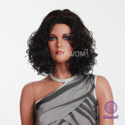 Wavy Curly Bob Short Black Wig For Women