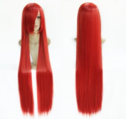 39'' 100cm Tail-elza Scarlet Red Long Straight Fancy Dress Wigs Red Colour Cosplay Costume Ladies Wig +Wip Cap