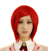 FENGSHANG Beauty Heat Resisting Party and Cosplay Short Wigs Anime Red 36cm