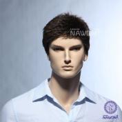 High Quality New Gentle Western Fashion Handsome Mens Short Dark Brown Hair Wigs