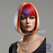 New Female Colourful Hot Bob with Bangs Rainbow Wigs for Women Cosplay Party