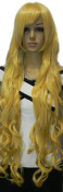 Yazilind Long Yellow Wavy Curly Heat Resistant Fibre Synthetic Hair Full Cosplay Anime Costume Wig