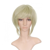 Sage Green Styled Short Length Anime Cosplay Costume Wig with Long Side Bangs