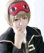 Gintama Okita Sougo Silver Soul Tea Brown Short Cosplay Hair Wig + Eyeshades