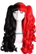 L-email 50-60cm Black & red Long Lolita Clip on Ponytails Wavy Cosplay Hair Wig C22-b