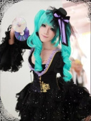Vocaloid Long Green Curly Wavy Cosplay Party Full Wig 7387 Cos Synthetic Wigs