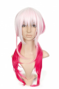 White Short Length Anime Cosplay Costume Wig with Fuschia Tails