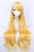 Lady 80cm Long Wavy Yellow Synthetic Sweet Cosplay Hair Wig Cw201b