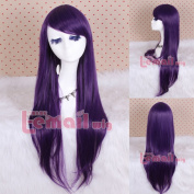 New! Synthetic 80cm Long Dark Purple Straight Cosplay Hair Wig Cw109e
