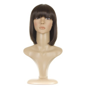 Brunette Straight Long Bob Wig | Natural Brown Mix | In the Style of Jessie J and Lily Allen