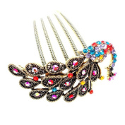 Retro Peacock Inserted Comb, Alloy Rhinestones Hair Comb/yd1867