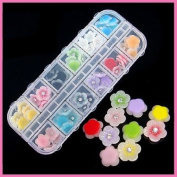 60Pcs 3D Nail Art Tips Acrylic Flower Rhinestones Decorations Stickers Colours