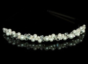 Bridal. Pearls and Crystals Bridal Tiara / Headband in Silver, Bridal Hair Accessory