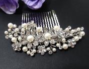 beautiful elegant wedding bridal hair comb pearl and crystal #8