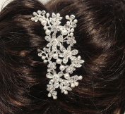 beautiful white Silver Colour bridal wedding hair comb pearl and crystal #5