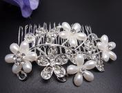 Bridal Wedding Jewellery Crystal Rhinestone Beautiful Flower Wave Hair Comb Pin #3
