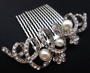 Bridal Wedding Jewellery Crystal Rhinestone Beautiful Flower Wave Hair Comb Pin #333
