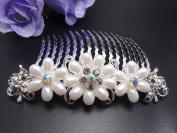 Bridal Wedding Jewellery Crystal Rhinestone Beautiful Flower Wave Hair Comb Pin #4