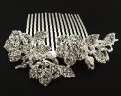 Bridal Wedding Jewellery Crystal Rhinestone Pearl Duo Flowers hair comb Silver #55