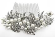Flower Rhinestone Crystal Pearl Bridal Wedding Prom hair comb Tiara #8613