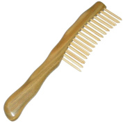 Natural Sandalwood Comb - Detangle Scratch Massage - Arch Back Ergonomic Handle - Double Row Insert Picks - Wide Tooth - 21cm